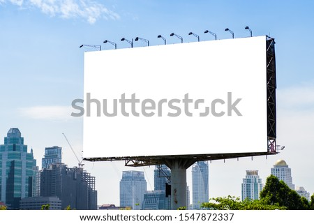 Billboard mockup outdoors, Outdoor advertising poster on the street for advertisement street city. With clipping path on screen. #1547872337