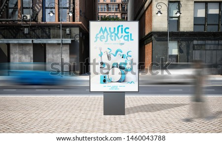 billboard music festival advertisement mockup 3d rendering Foto stock ©