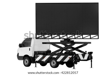 Billboard on car LED panel for sign Advertising isolated on background white #422812057