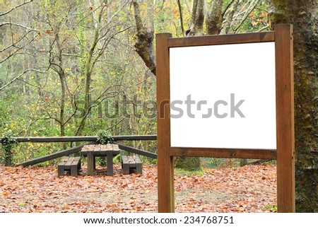 Billboard, picnic, recreation facilities. Autumn scene in a natural environment.
