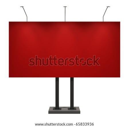 Billboard, red, front view, isolated on white with clipping path
