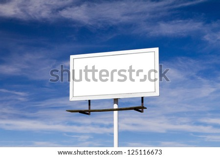 Billboard sign with blank white background for your message