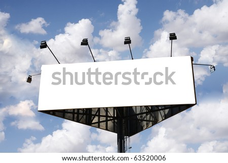 Billboard sign with cloudy sky as a background