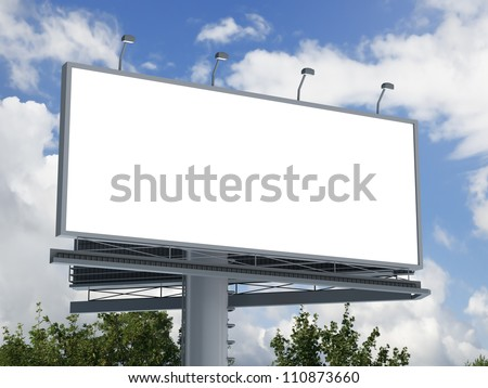 Billboard with empty screen, against blue cloudy sky