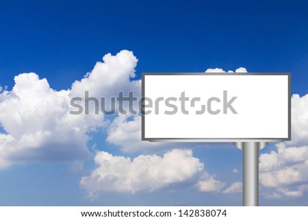 Billboard with empty screen against blue sky background