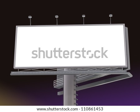 Billboard with empty screen in the night