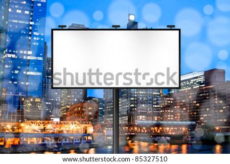 Billboard with Night City Background