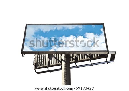 Billboard with sky isolated on white background