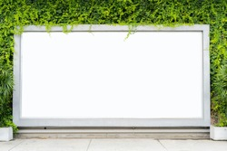 Billboards concept. Installed as a rectangle on the wall. and trees as an element, The floor is empty, can be put on advertising media.