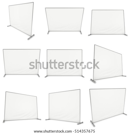 Billet press wall with blank banner set. Mobile trade show booth white and blank. 3d render isolated on white background. High Resolution Template for your design.
