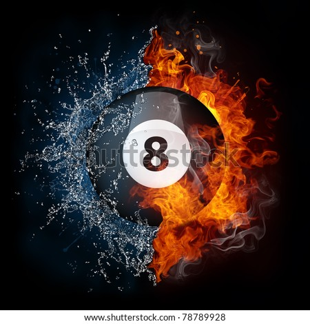 Billiard ball in fire and water. Illustration of the billiard ball enveloped in elements isolated on black background. High resolution billiard ball in fire and water image for a billiard game poster.