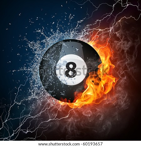 Billiard ball in fire and water. Illustration of the billiard ball enveloped in elements on black background. High resolution billiard ball in fire and water image for a billiard game poster.