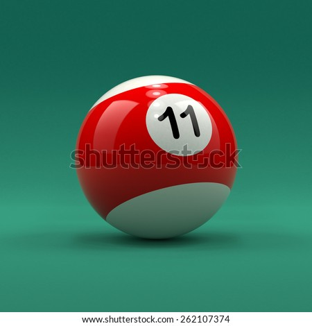 Billiard ball number 11 striped white and red color on green table background