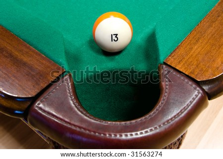 billiard ball number thirteen by corner pocket