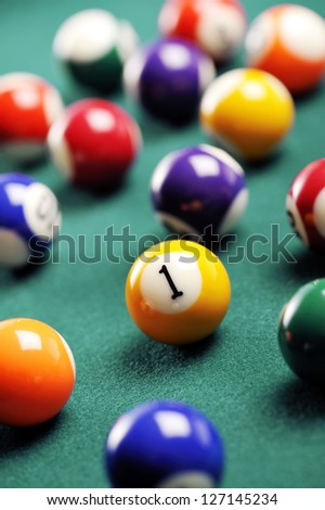 billiard ball with number one in evidence, concept of success