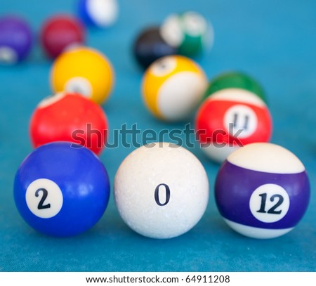 billiard-balls are shown numerals in creative greeting card 2012 with New Year