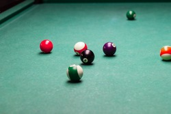 billiard balls breaking from the impact.the game of pool.the competition