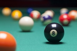 Billiard balls in a pool table. focus on the eight ball