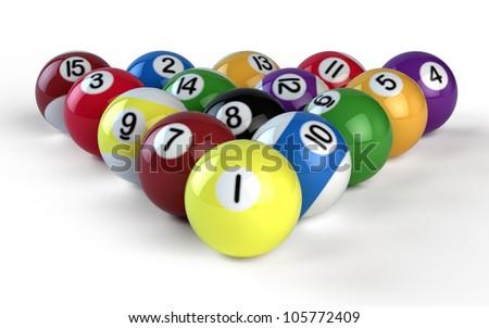 Billiard balls isolate on white