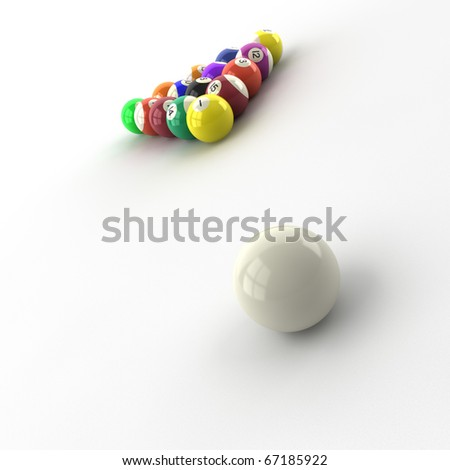 billiard balls isolated on white background - stock photo