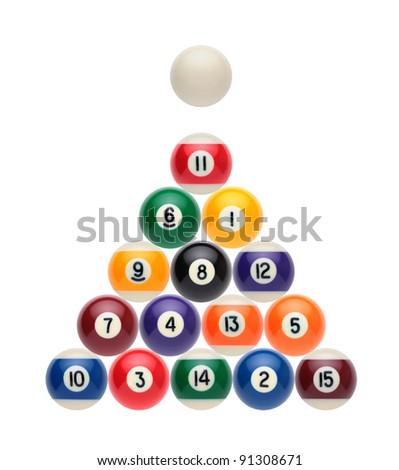 Billiard balls on a white background like a Christmas tree