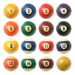 Billiard balls (pool balls) set isolated on white background