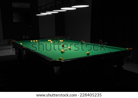 Billiard Balls Scattered on Pool Table in Empty Dimly Lit Pool Hall