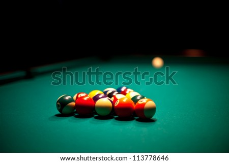 Billiard balls that ready for the break on the green table