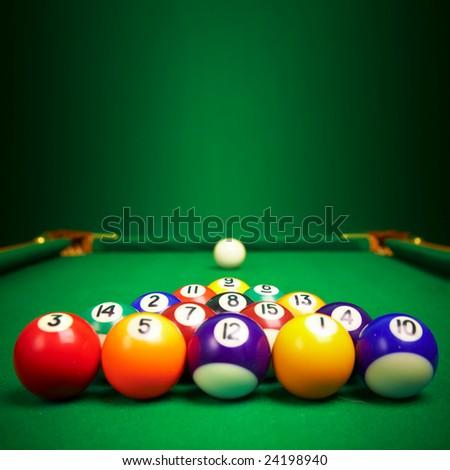 billiard balls  with copy space...