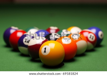 Billiard on table. Perfect composition of pool balls