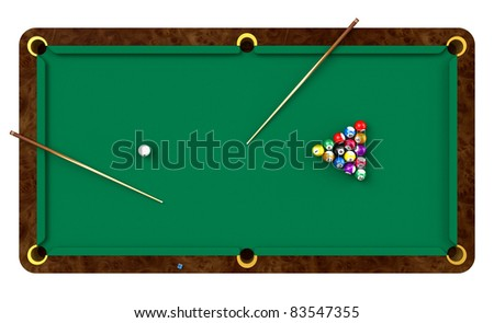 Billiard table with balls and cues isolated on white background - stock photo