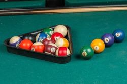 Billiards balls and cue on billiards table. Billiard sport concept.
