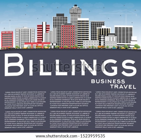 Billings Montana City Skyline with Color Buildings, Blue Sky and Copy Space. Business Travel and Tourism Concept with Modern Architecture. Billings USA Cityscape with Landmarks.