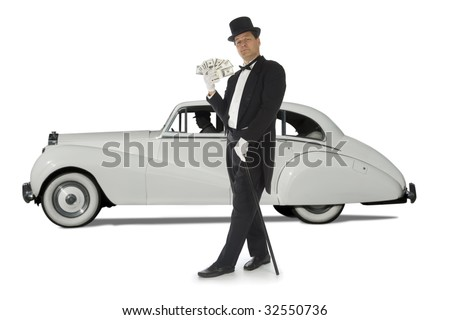 Billionaire standing in front of a vintage car against a white background