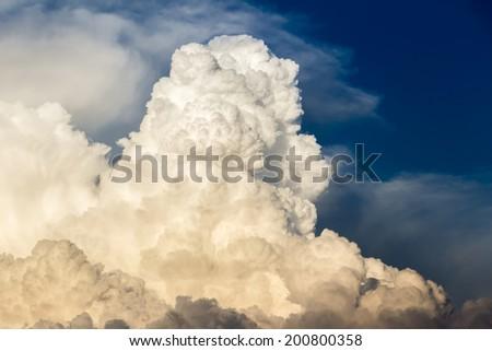 Billowing cumulonimbus bathed in sunset light