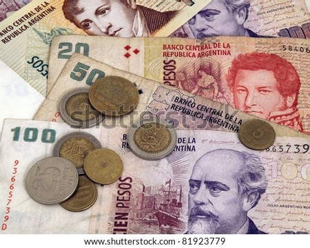 Bills & Coins Close Up: One Hundred 100 Argentina pesoes - stock photo