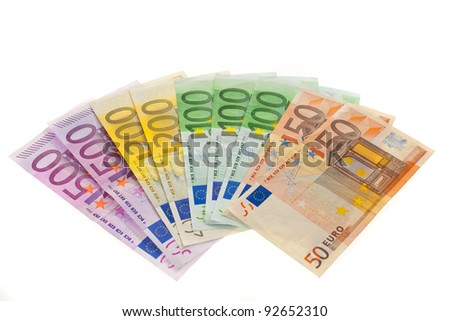 bills of the european union. euro currency on a white background