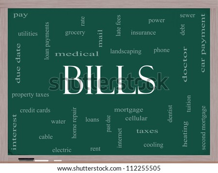 Bills Word Cloud Concept on a Blackboard with great terms such as medical, mortgage, past due, pay, taxes and more.