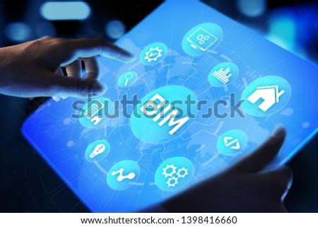 BIM Building Information Modeling Technology concept on virtual screen.