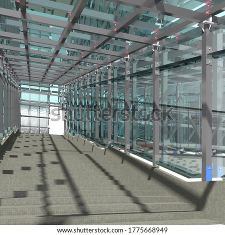 BIM model of a pedestrian crosswalk made of glass and steel for presentation to the customer and contractor. Steel detailing. 3D rendering.