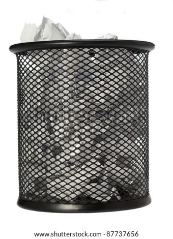 bin full of paper trash isolated on white background/bin/focus ot the centre of image