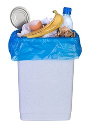 Bin full of rubbish isolated on white background