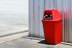 Bin plastic, Red Bin outdoors at wall zinc sheets, Bin red for recycle garbage waste, Bin trash junk for waste