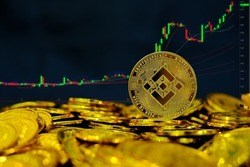 Binance coin cryptocurrency on pile gold coins at computer trading chart background