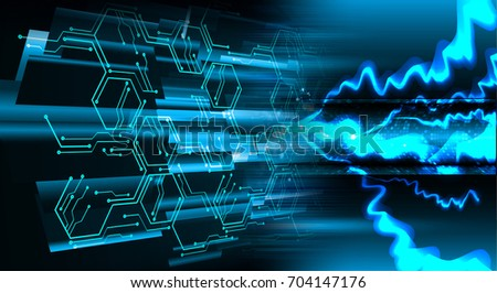 binary circuit future technology, blue cyber security concept background, abstract hi speed digital internet.motion move blur. pixel. bolt #704147176