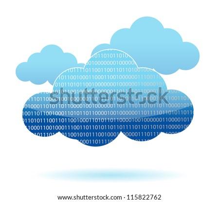 binary cloud computing concept illustration design over white