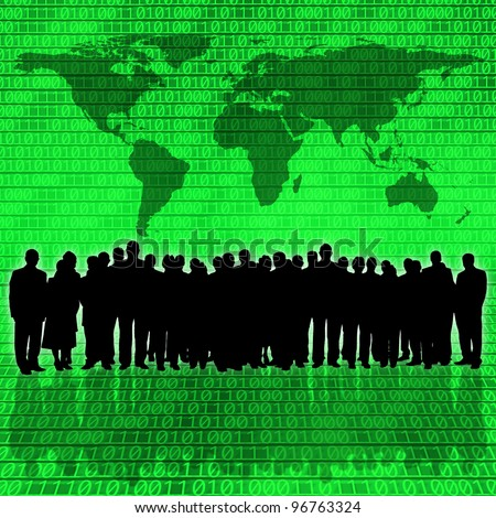 binary code background and business people silhouette - stock photo