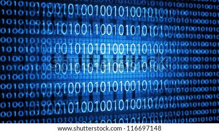 Binary code. Blue background.