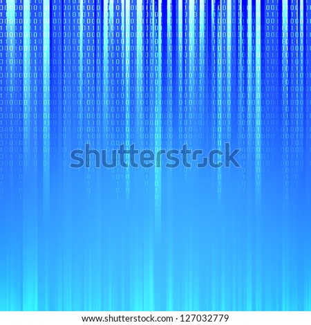 Binary code flowing over a blue background. Illustration.