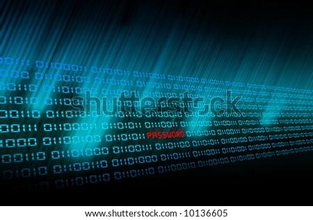 Binary Code Glow in blue - stock photo